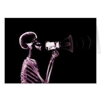 X-RAY VISION SKELETON ON MEGAPHONE -PINK CARD