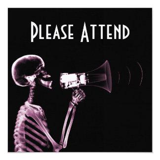 X-RAY VISION SKELETON ON MEGAPHONE -PINK CUSTOM INVITATIONS