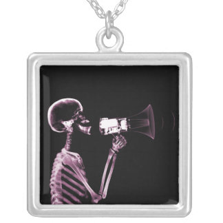 X-RAY VISION SKELETON ON MEGAPHONE -PINK SQUARE PENDANT NECKLACE