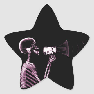 X-RAY VISION SKELETON ON MEGAPHONE -PINK STAR STICKER