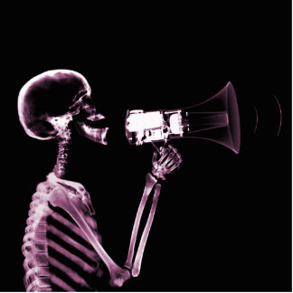 X-RAY VISION SKELETON ON MEGAPHONE -PINK STATUETTE
