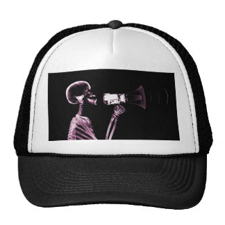 X-RAY VISION SKELETON ON MEGAPHONE -PINK TRUCKER HAT