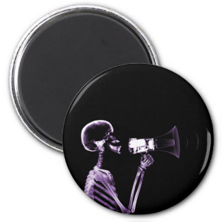 X-RAY VISION SKELETON ON MEGAPHONE - PURPLE 2 INCH ROUND MAGNET