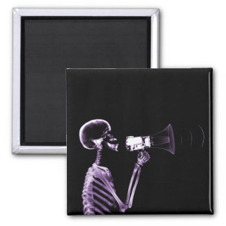 X-RAY VISION SKELETON ON MEGAPHONE - PURPLE 2 INCH SQUARE MAGNET
