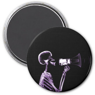 X-RAY VISION SKELETON ON MEGAPHONE - PURPLE 3 INCH ROUND MAGNET