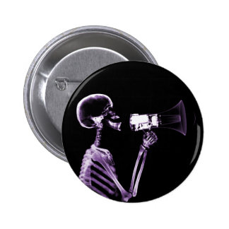 X-RAY VISION SKELETON ON MEGAPHONE - PURPLE PINBACK BUTTONS