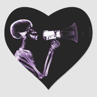 X-RAY VISION SKELETON ON MEGAPHONE - PURPLE HEART STICKER