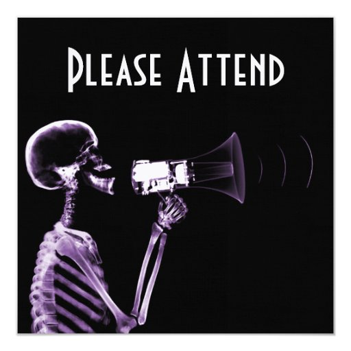 X-RAY VISION SKELETON ON MEGAPHONE - PURPLE INVITES