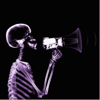 X-RAY VISION SKELETON ON MEGAPHONE - PURPLE PHOTO SCULPTURES