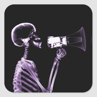 X-RAY VISION SKELETON ON MEGAPHONE - PURPLE SQUARE STICKER