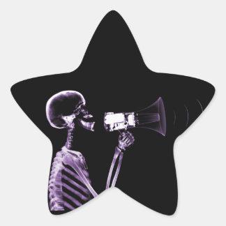 X-RAY VISION SKELETON ON MEGAPHONE - PURPLE STAR STICKER