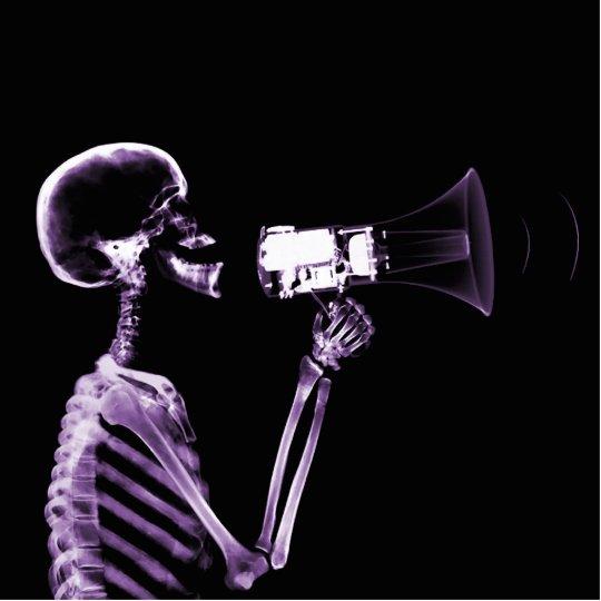 X-RAY VISION SKELETON ON MEGAPHONE - PURPLE STATUETTE