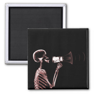 X-RAY VISION SKELETON ON MEGAPHONE - RED 2 INCH SQUARE MAGNET