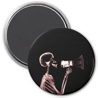 X-RAY VISION SKELETON ON MEGAPHONE - RED 3 INCH ROUND MAGNET