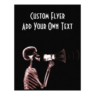 "X-RAY VISION SKELETON ON MEGAPHONE - RED 8.5"" X 11"" FLYER"
