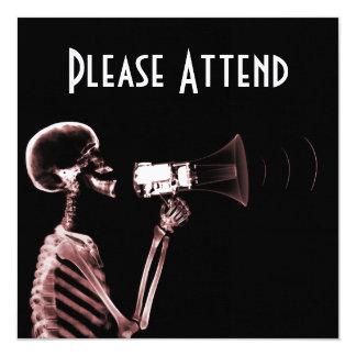 X-RAY VISION SKELETON ON MEGAPHONE - RED INVITATIONS