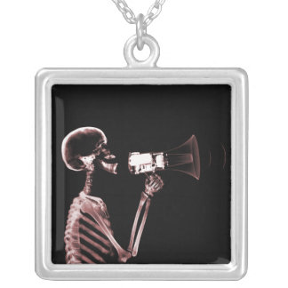 X-RAY VISION SKELETON ON MEGAPHONE - RED SQUARE PENDANT NECKLACE