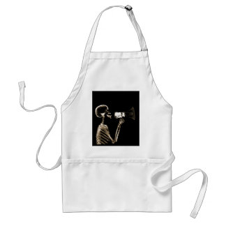 X-RAY VISION SKELETON ON MEGAPHONE - SEPIA ADULT APRON
