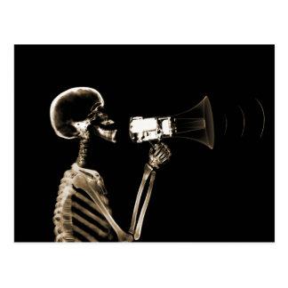 X-RAY VISION SKELETON ON MEGAPHONE - SEPIA POSTCARD
