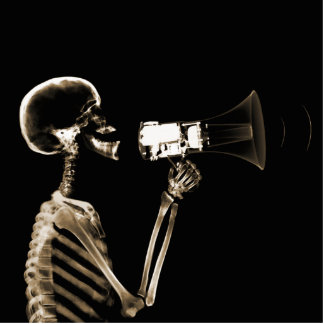 X-RAY VISION SKELETON ON MEGAPHONE - SEPIA STATUETTE