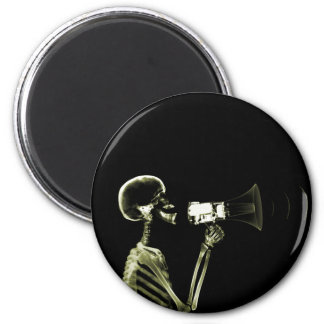 X-RAY VISION SKELETON ON MEGAPHONE - YELLOW MAGNET