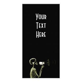 X-RAY VISION SKELETON ON MEGAPHONE - YELLOW PERSONALIZED PHOTO CARD