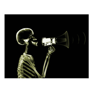 X-RAY VISION SKELETON ON MEGAPHONE - YELLOW POSTCARD