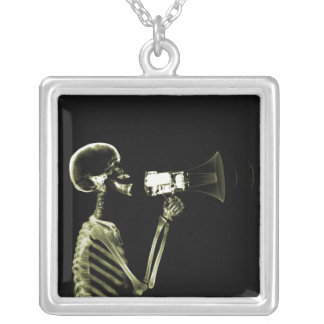 X-RAY VISION SKELETON ON MEGAPHONE - YELLOW SQUARE PENDANT NECKLACE