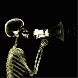 X-RAY VISION SKELETON ON MEGAPHONE - YELLOW STATUETTE