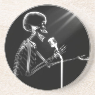X-RAY VISION SKELETON SINGING ON RETRO MIC - B&W DRINK COASTER