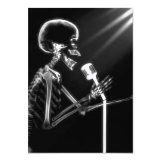 X-RAY VISION SKELETON SINGING ON RETRO MIC - B&W 4.5X6.25 PAPER INVITATION CARD