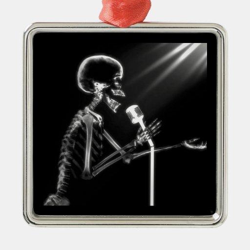 X-RAY VISION SKELETON SINGING ON RETRO MIC - B&W CHRISTMAS TREE ORNAMENTS