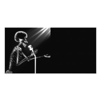 X-RAY VISION SKELETON SINGING ON RETRO MIC - B W CUSTOMIZED PHOTO CARD