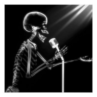 X-RAY VISION SKELETON SINGING ON RETRO MIC - B&W POSTER