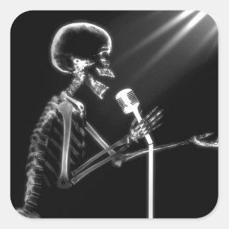 X-RAY VISION SKELETON SINGING ON RETRO MIC - B&W SQUARE STICKER