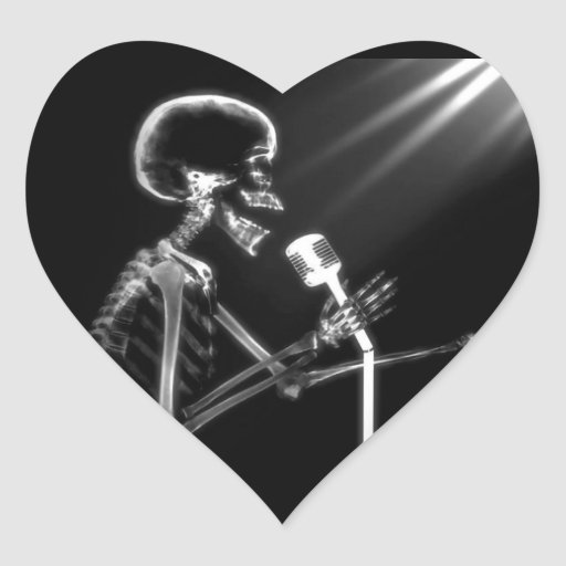 X-RAY VISION SKELETON SINGING ON RETRO MIC - B&W HEART STICKERS