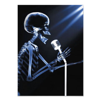 X-RAY VISION SKELETON SINGING ON RETRO MIC - BLUE CARD