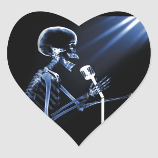 X-RAY VISION SKELETON SINGING ON RETRO MIC - BLUE HEART STICKER