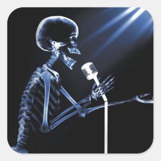 X-RAY VISION SKELETON SINGING ON RETRO MIC - BLUE SQUARE STICKER