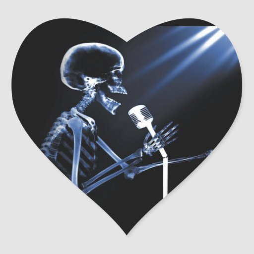 X-RAY VISION SKELETON SINGING ON RETRO MIC - BLUE HEART STICKERS