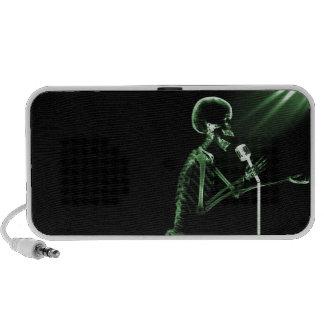 X-RAY VISION SKELETON SINGING ON RETRO MIC - GREEN PORTABLE SPEAKERS