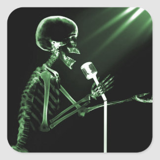 X-RAY VISION SKELETON SINGING ON RETRO MIC - GREEN SQUARE STICKER