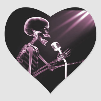 X-RAY VISION SKELETON SINGING ON RETRO MIC - PINK HEART STICKER