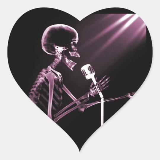 X-RAY VISION SKELETON SINGING ON RETRO MIC - PINK HEART STICKER