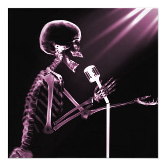 X-RAY VISION SKELETON SINGING ON RETRO MIC - PINK 5.25X5.25 SQUARE PAPER INVITATION CARD