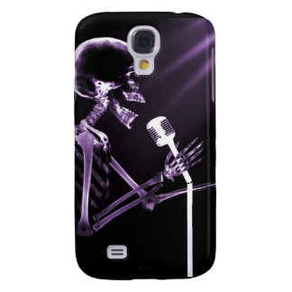X-RAY VISION SKELETON SINGING ON RETRO MIC PURPLE GALAXY S4 COVER