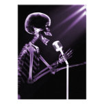 X-RAY VISION SKELETON SINGING ON RETRO MIC PURPLE PERSONALIZED INVITE