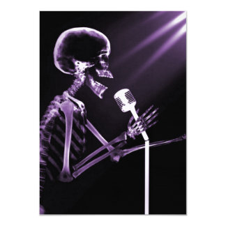 X-RAY VISION SKELETON SINGING ON RETRO MIC PURPLE 4.5X6.25 PAPER INVITATION CARD