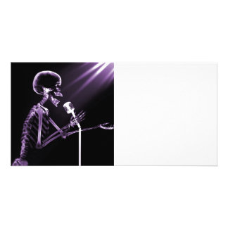 X-RAY VISION SKELETON SINGING ON RETRO MIC PURPLE PERSONALIZED PHOTO CARD