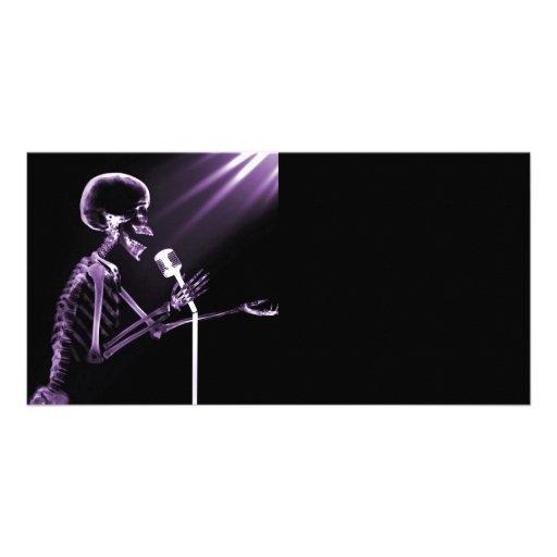 X-RAY VISION SKELETON SINGING ON RETRO MIC PURPLE PHOTO GREETING CARD